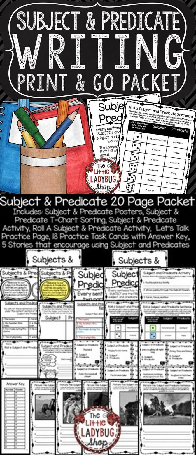 small resolution of Subject and Predicate Mini Unit. You will find tools to assist you in tea…    Subject and predicate