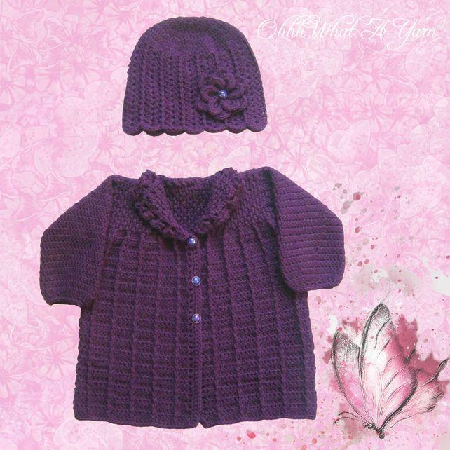 7f41bd4a7bd Crochet purple baby cardigan