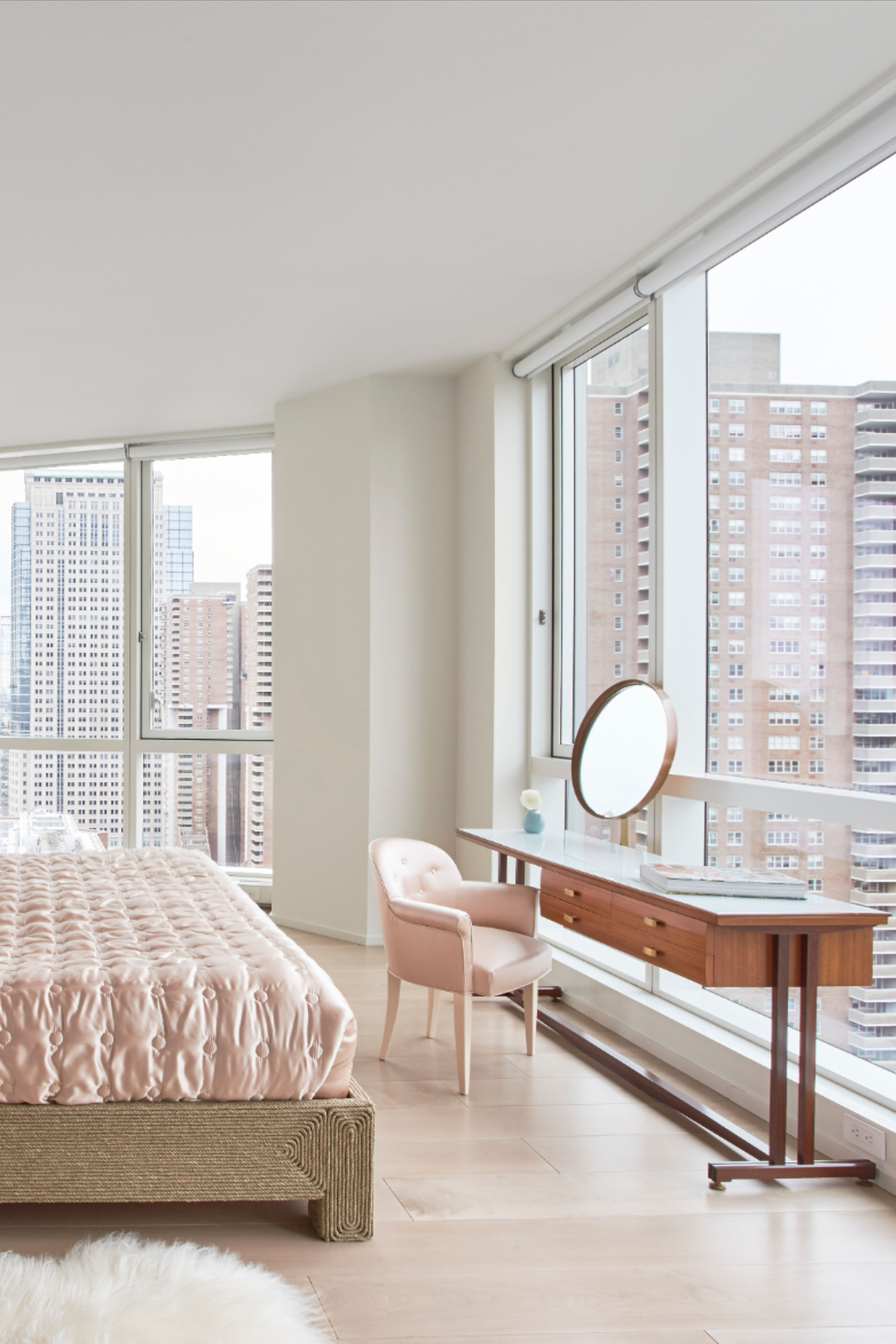 Bedroom With A Birds Eye View Of Nyc In 2020 Bedroom Design Inspiration Motorized Window Shades Window Shades
