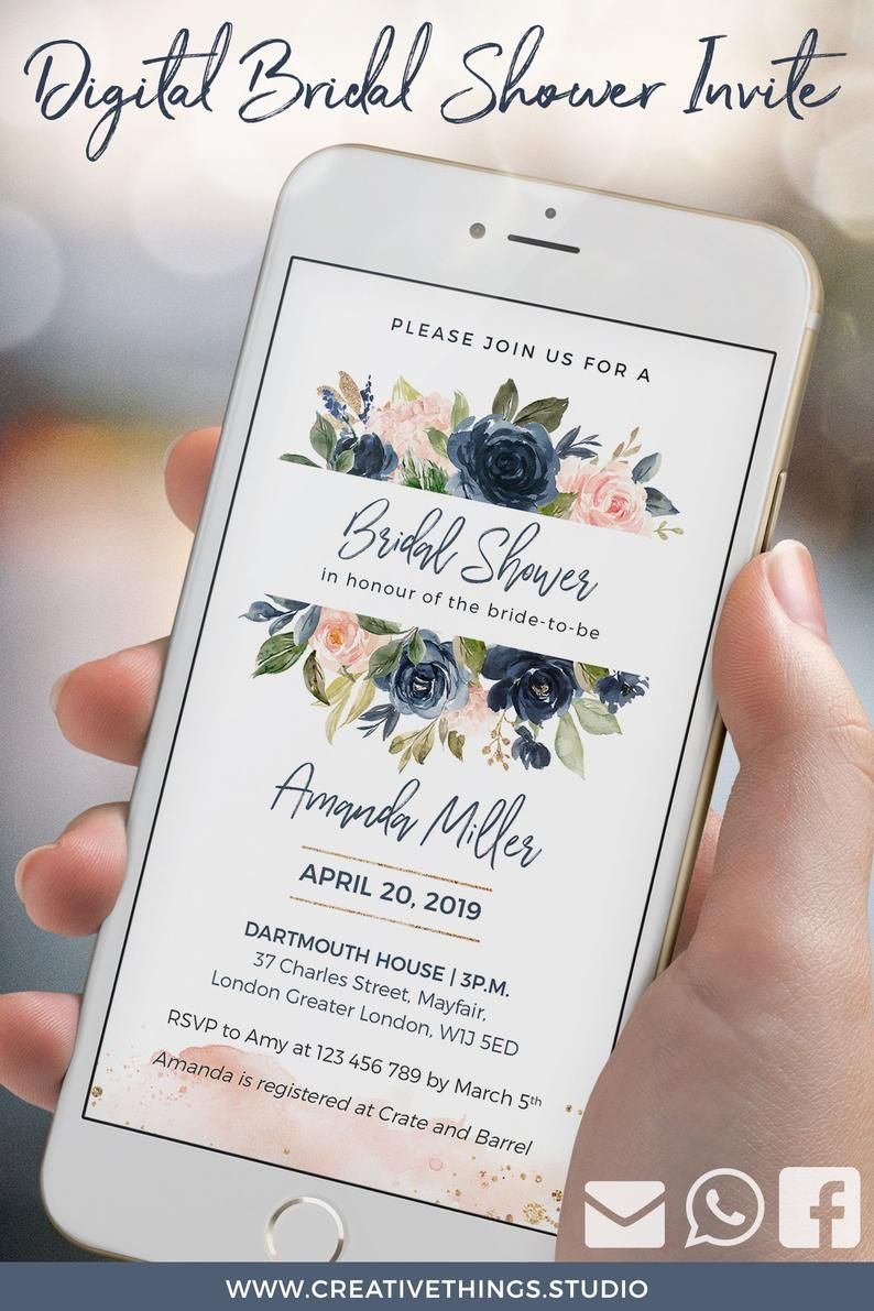 Looking For A Unique Bridal Shower Invitation This Elegant Digital Bridal Shower In Electronic Wedding Invitations Marriage Invitations Electronic Invitations