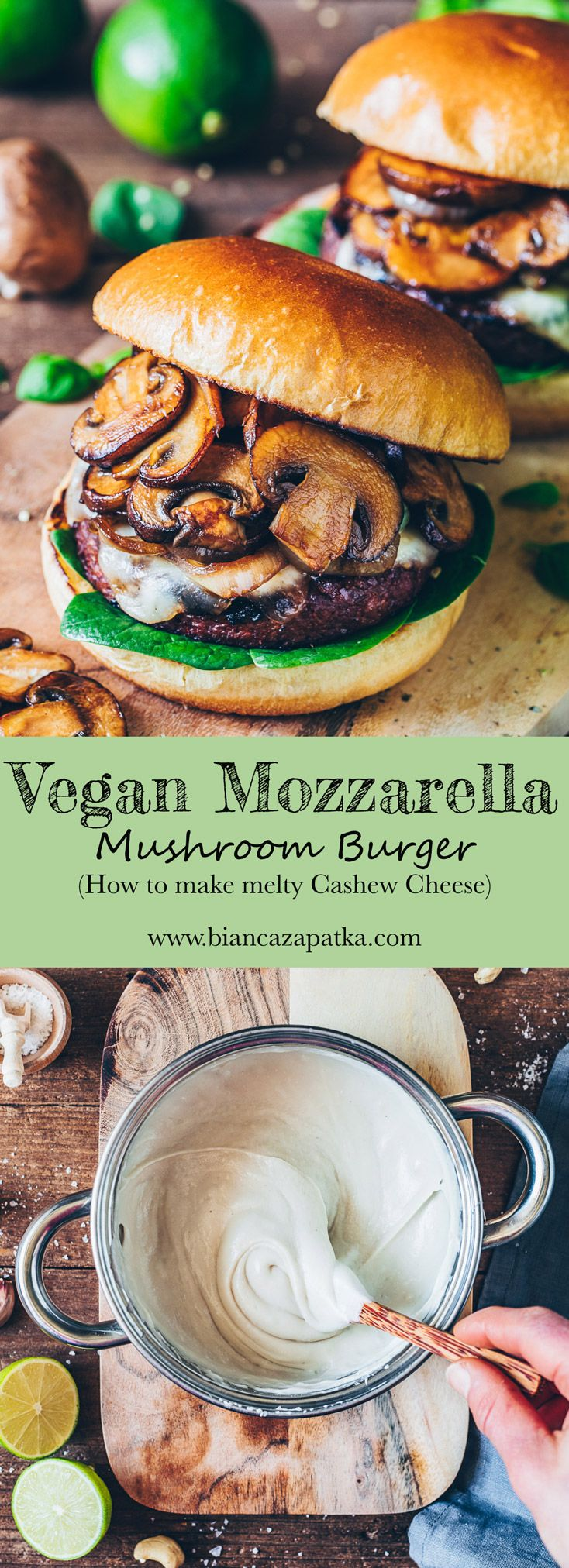 Vegan Mozzarella Mushroom Burger - Bianca Zapatka | Recipes