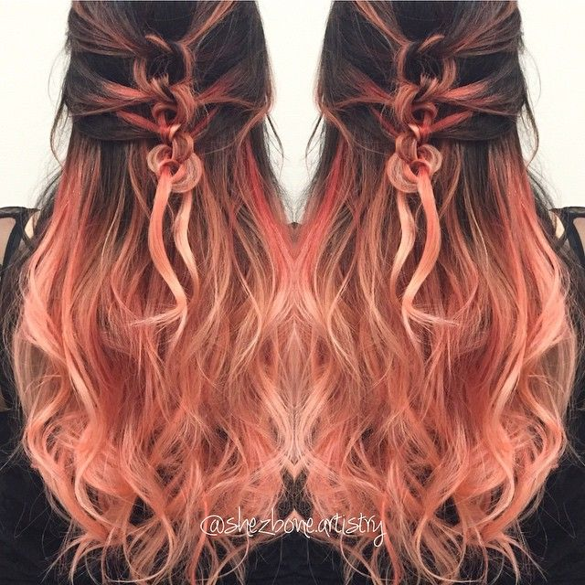 Ombré dyed peach tips. Awesome hairstyle. Love the color. Colour.