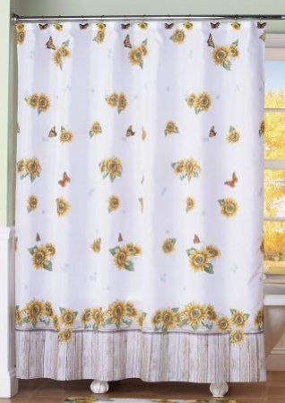 Amazon Com Sunflower Butterflies Country Floral Shower Curtain By Collections Etc Home Kitch Floral Shower Curtains Fabric Shower Curtains Shower Curtain