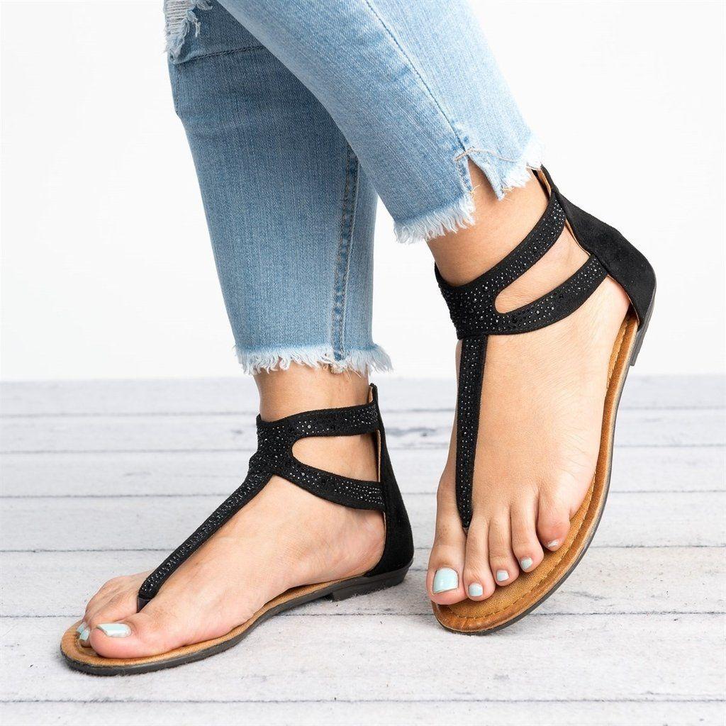 Women Flip Flop Ankle Crcle Ring Strap Sandals Shoes Casual Summer Shoes Size US