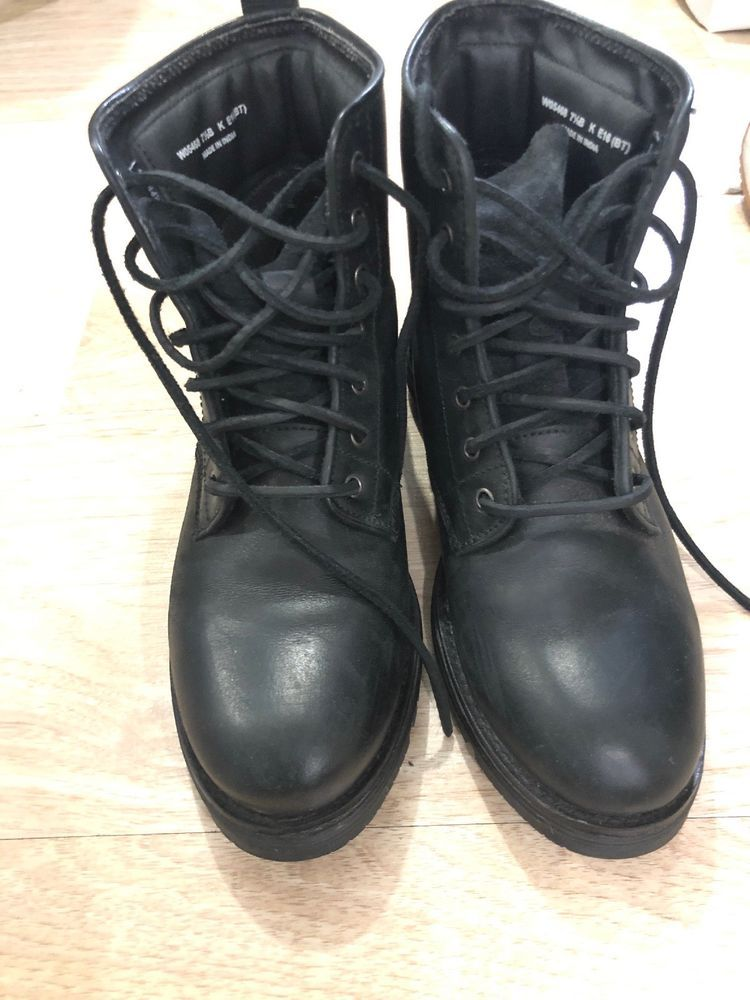 cole haan Black leather Combat boots