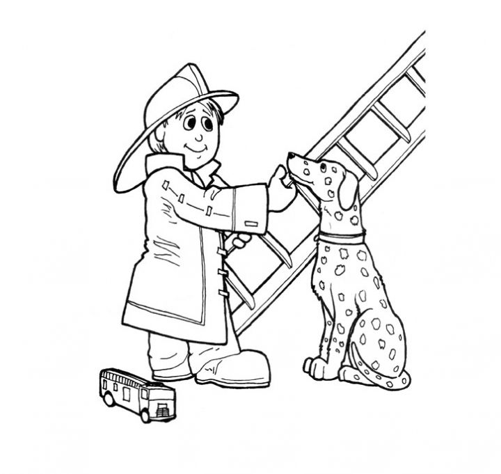 Fireman Fire Dog And Ladder Coloring Page Print Color Firetruck