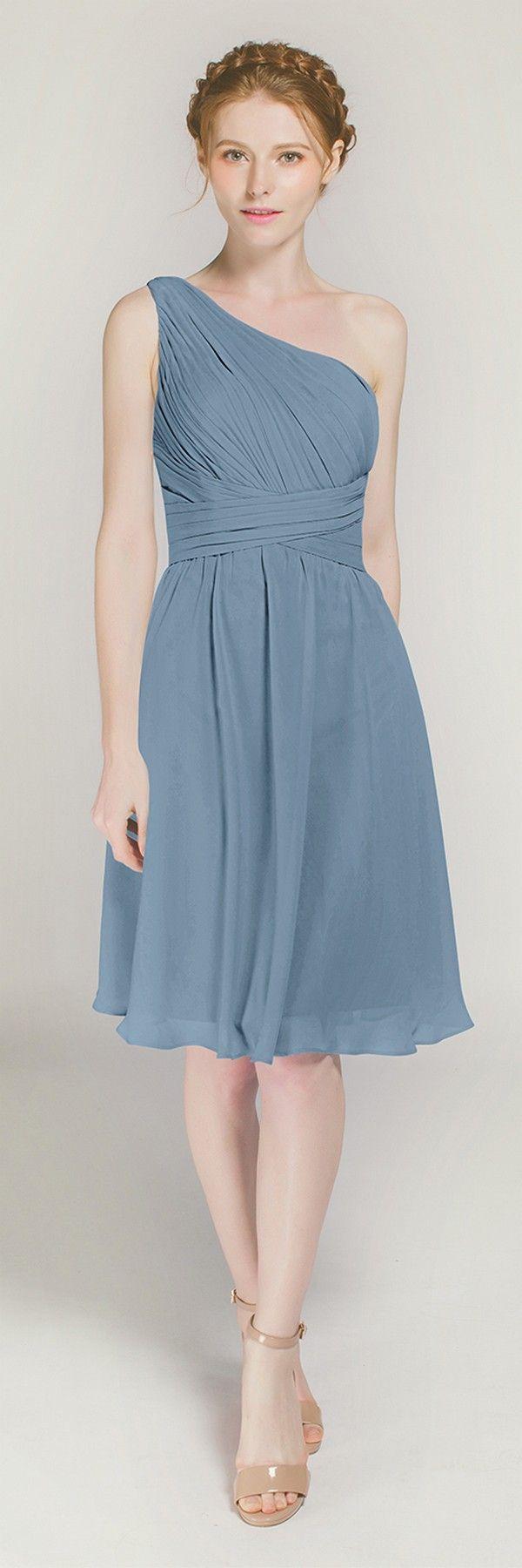Chiffon short one shoulder bridesmaid dress tbqp dusty blue