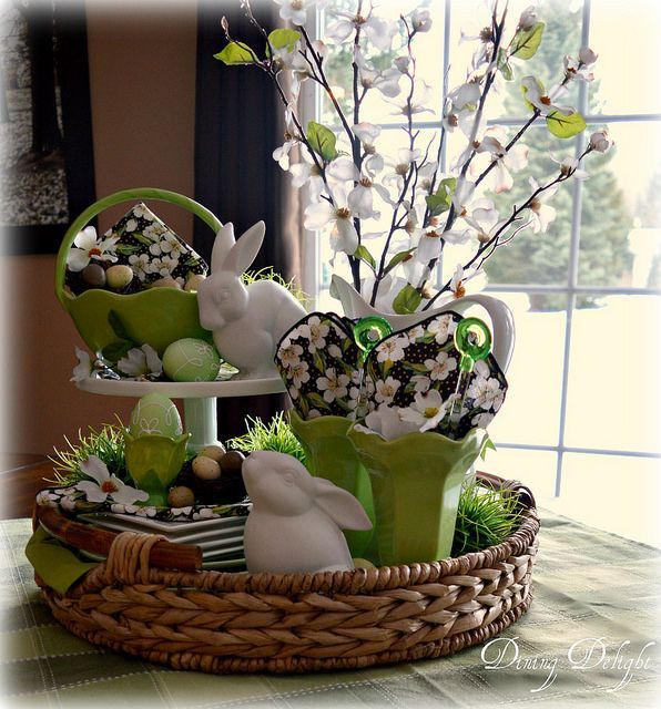 Pretty Easter Vignette In A Round Basket Tray Using White