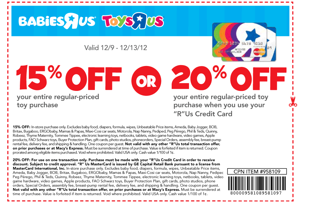 picture about Babies R Us Printable Coupons titled 15% off anything and excess at Toys R Us Infants R Us