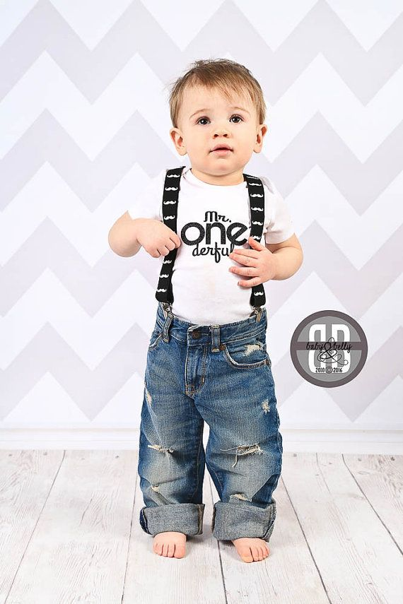 Mr One Derful Outfit Suspenders White Bodysuit With Decal Professionally Pressed