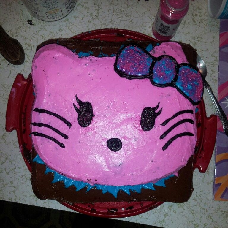 Gracie turns three. #hellokitty #birthdaycake #diy