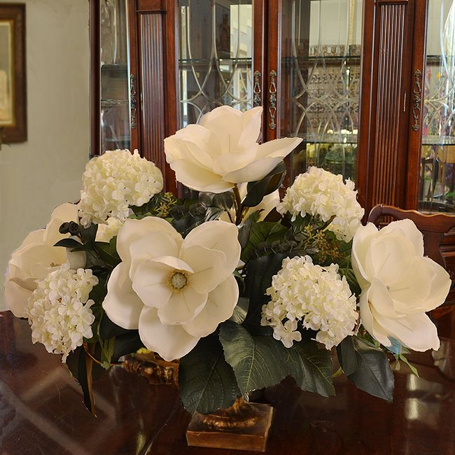 White Magnolia And Hydrangea Large Silk Flower Arrangement Ar344 Floral H Spring Floral Arrangements Flower Arrangements Simple Hydrangea Flower Arrangements