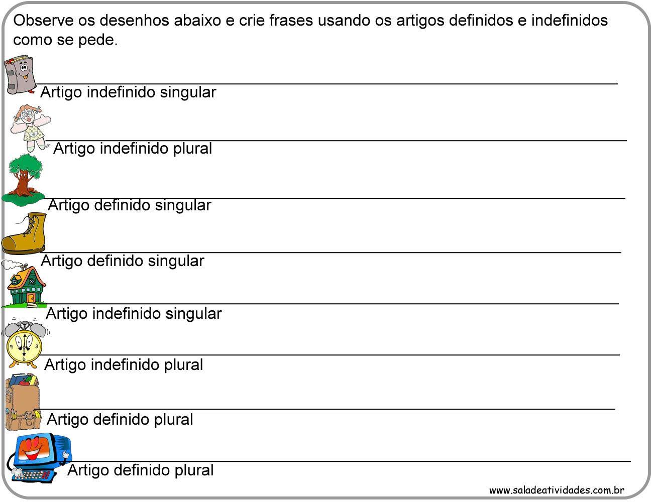 Atividades De Artigos Definidos E Indefinidos Para Imprimirsala De