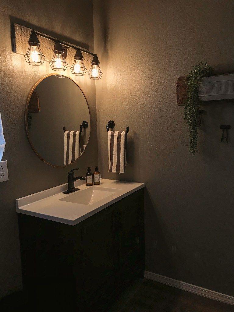 Rustic Industrial Farmhouse Bathroom On A Budget Reveal Rustic Industrial Decor Bronze Bathroom Bathroom Faucets
