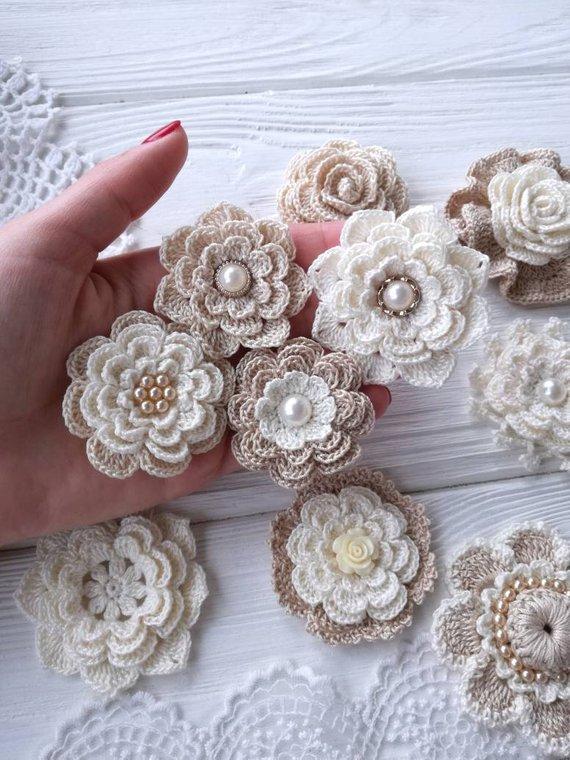 10 crochet flowers.Headband flowers. Scrap flowers #irishcrochetflowers 10 crochet flowers.Headband flowers. Scrap flowers. #crochetflowers