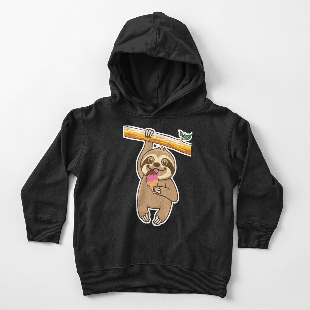 'Sloth loves ice cream' Toddler Pullover Hoodie by plushism