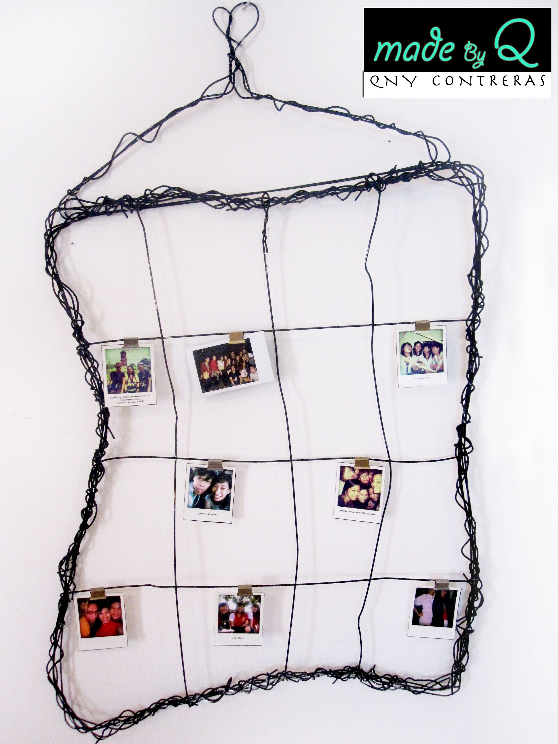 photo frame out of wire hangers.