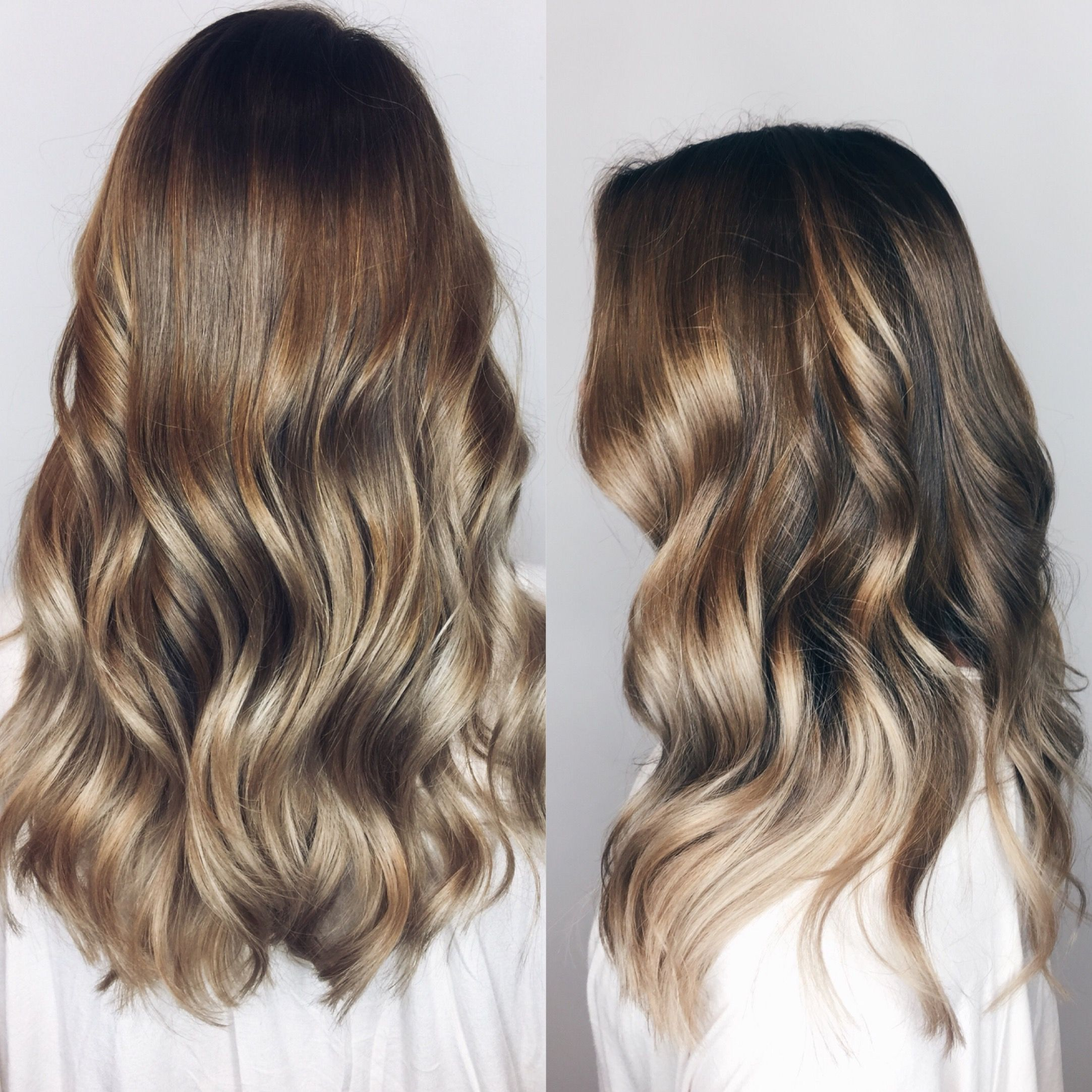 Hair Balayage Highlights Ash Blonde Brown Curlyhair Hair