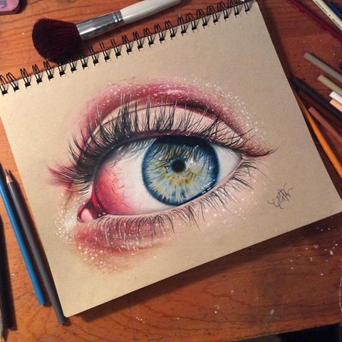 Eye Drawing Done With Prismacolor Colored Pencils On Toned Tan
