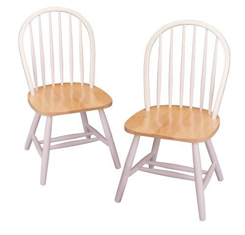Winsome Wood Windsor Chair In Natural And White Finish Set