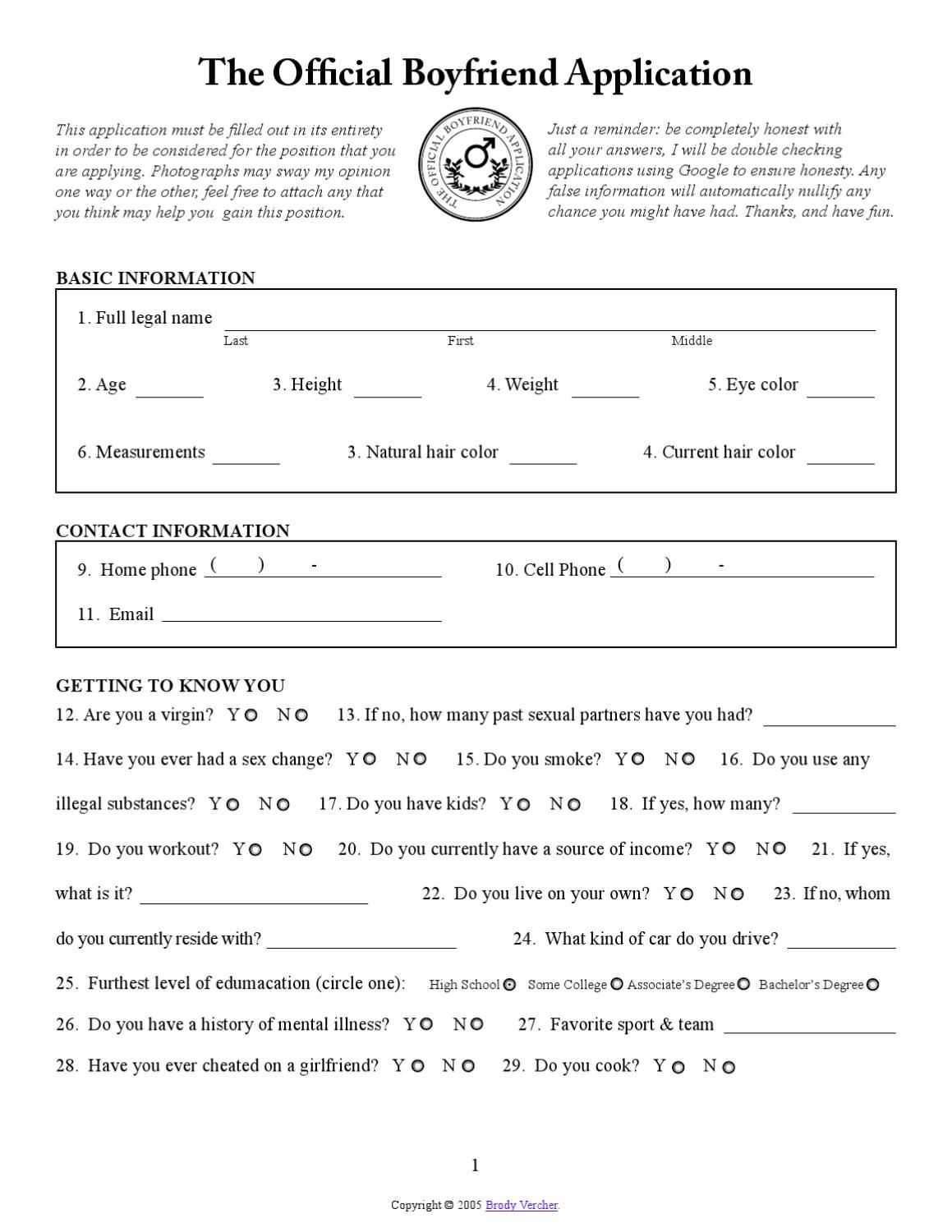 Sample Boyfriend Application Forms - 7 Free Documents in Word PDF