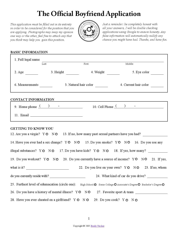 Boyfriend Application Boyfriend Application Girlfriend