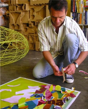 Campana brothers -Fernando Campana working on a poster for the project Camper store in Berlin