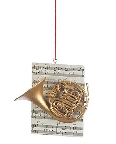 French Horn Brass Instrument Resin Stone Christmas Ornament Figurine