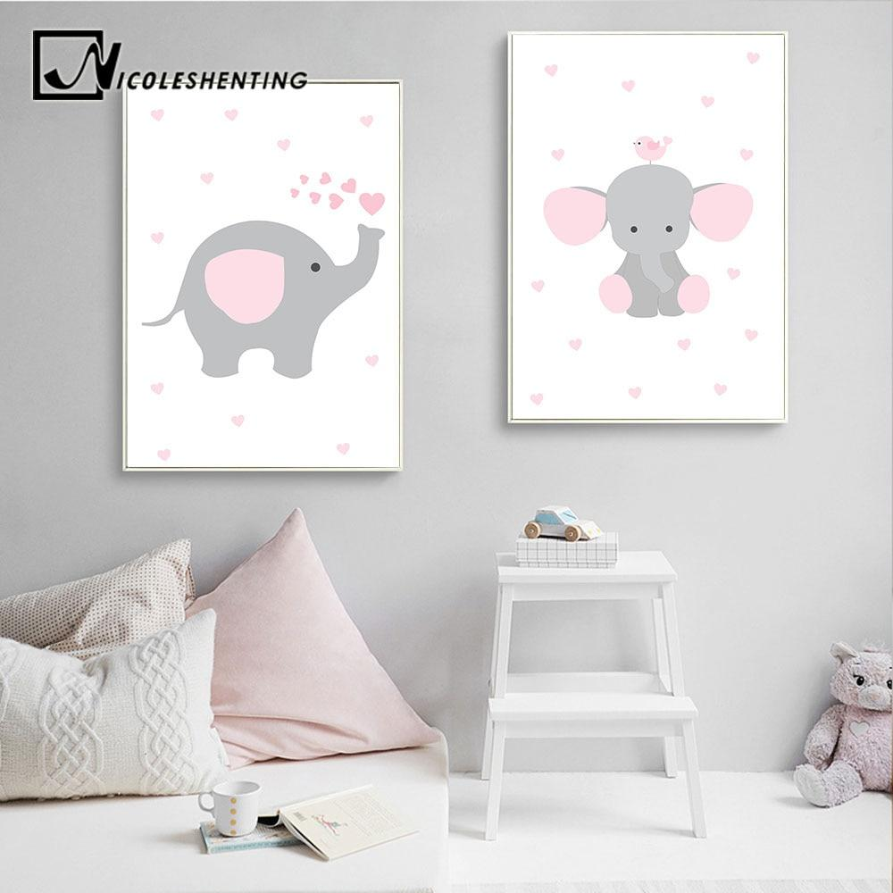 Cartoon Elephant Art Canvas Poster Nursery Quote Print Nordic Kids Bedroom Decor