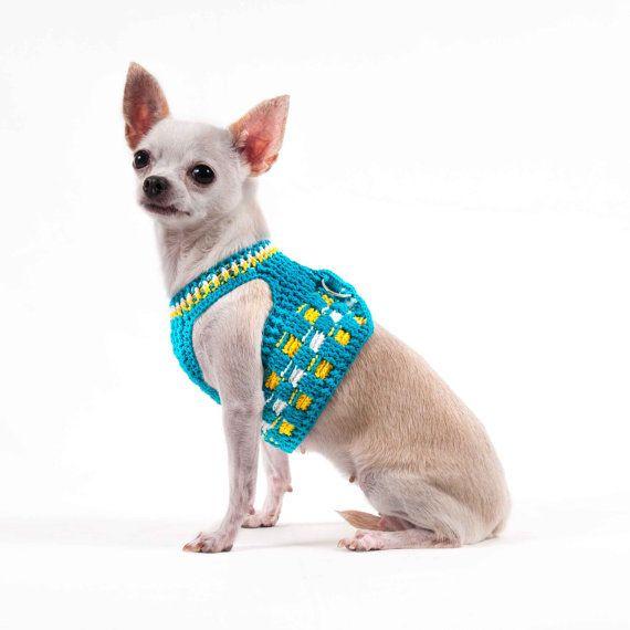 Perro azul arnés chaleco ganchillo hecho a mano de por myknitt ...