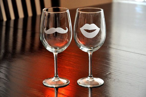 Valentines Day Mustache Lips Wine Glasses Etched His par TipsyGLOWs, $25,00