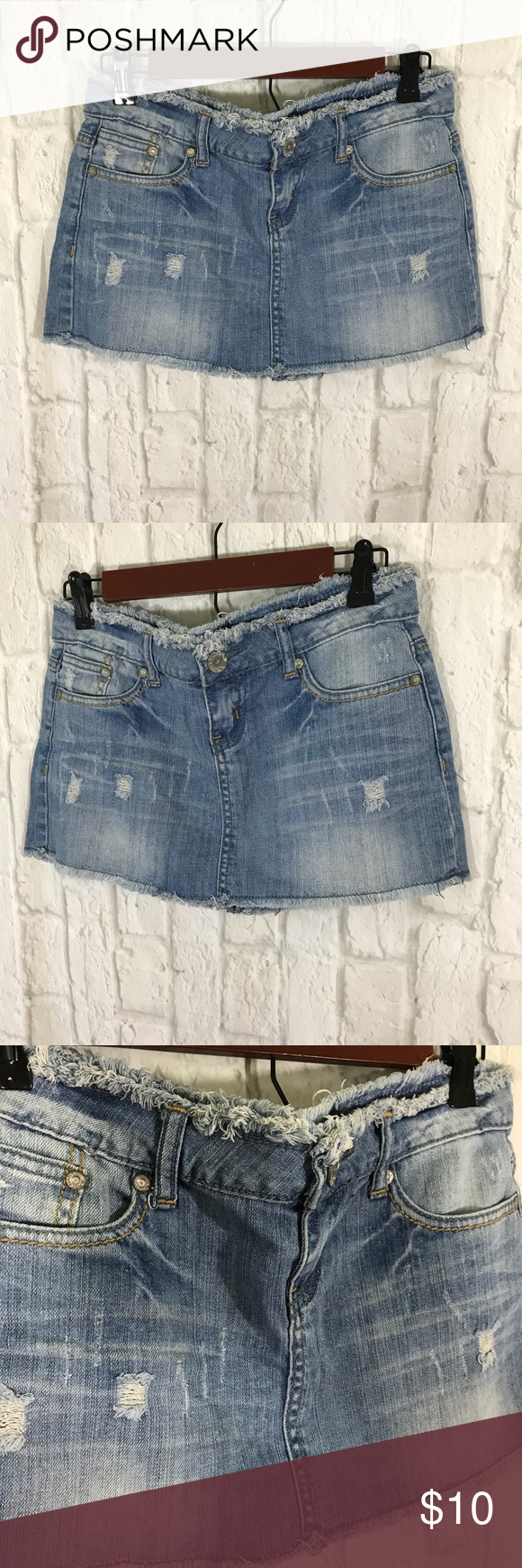 5c33e7fd73d Almost Famous Jean Skirt Almost Famous Light Wash Frayed   Distressed Size  5 Skirt EUC! Almost Famous Skirts Mini
