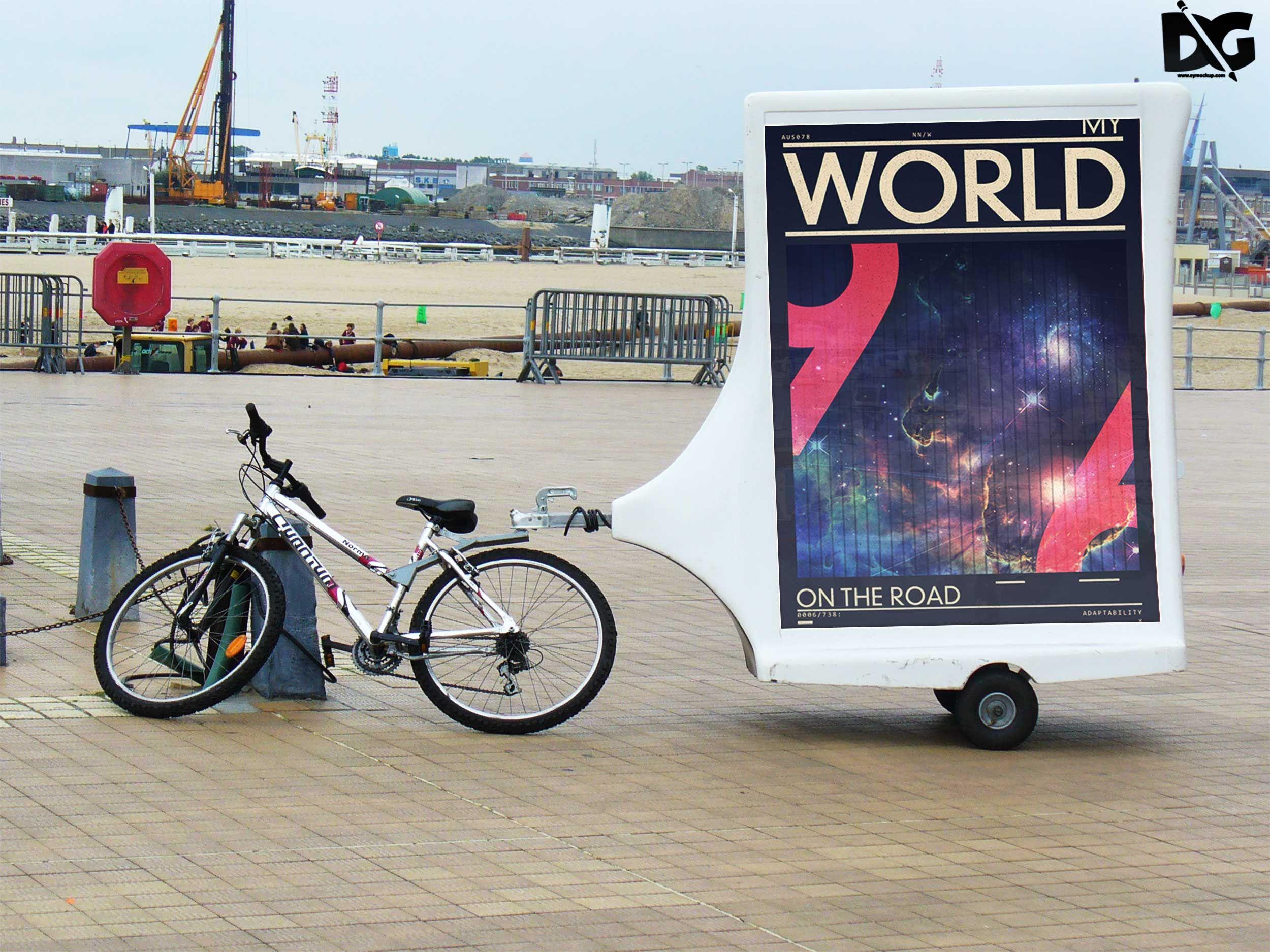 Download Free Psd Bicycle Billboard Design Mockup Mockup Free Psd Mockup Design Free Logo Psd