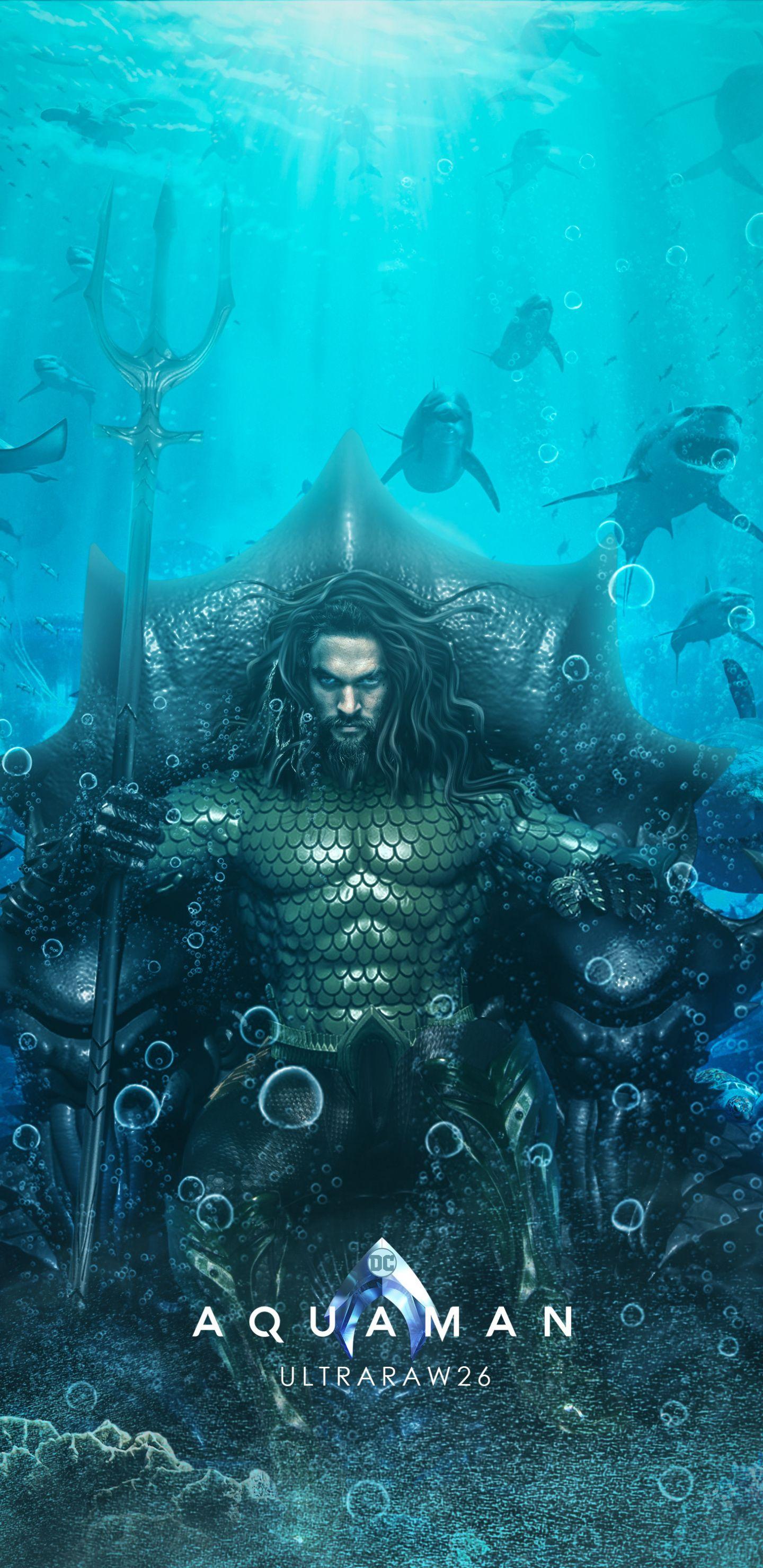 Aquaman, superhero, underwater, DC comics, 1440x2960