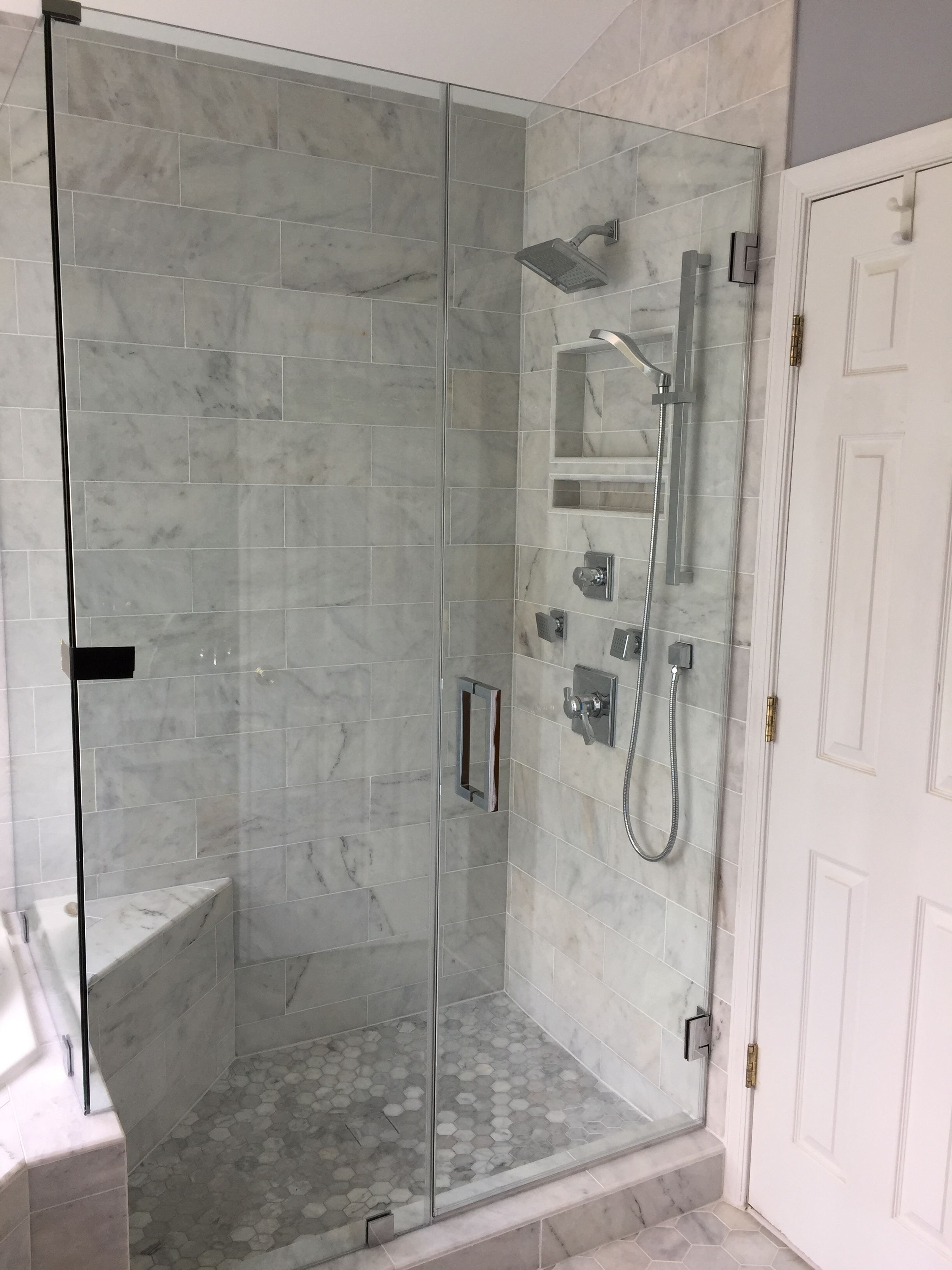 Marble Shower With Hexagon Floor And Frameless Shower Door Frameless Shower Doors Shower Doors Frameless Shower