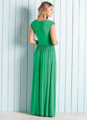 Vestido Longo Decote V Transpassado (Verde)