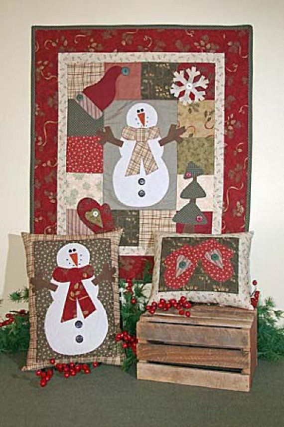 Pattern Snowman Winter Applique Wall Hanging By