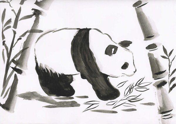 Sumi-e Panda | Chinese brush painting: Bamboo | Art ...