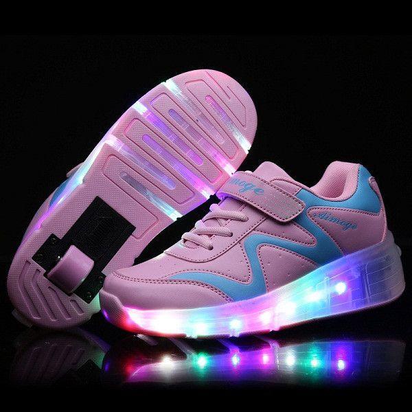 New 2016 Black Child Fashion Girls Boys LED Light Roller Skate Shoes For Children Kids Sneakers
