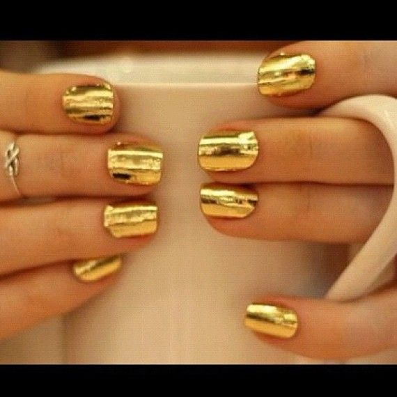 65 Ideas para pintar uñas de color dorado u oro - Golden Nails ...