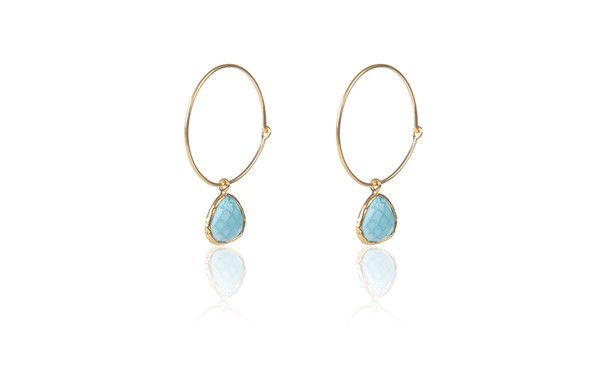 Hydra Collection 18ct Gold Vermeil Hoop Earring Aqua Turquoise