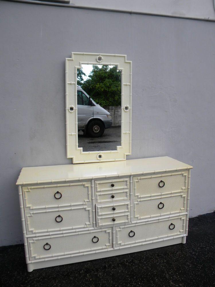 drexel bedroom set%0A Midcentury hollywood regency painted dresser with mirror by drexel