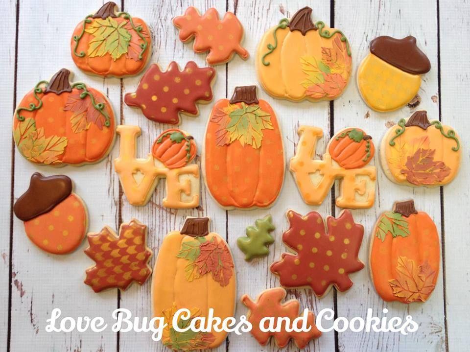 Pumpkin an acorn themed cookies from Love Bug Cakes and Cookies - halloween pumpkin cookies decorating