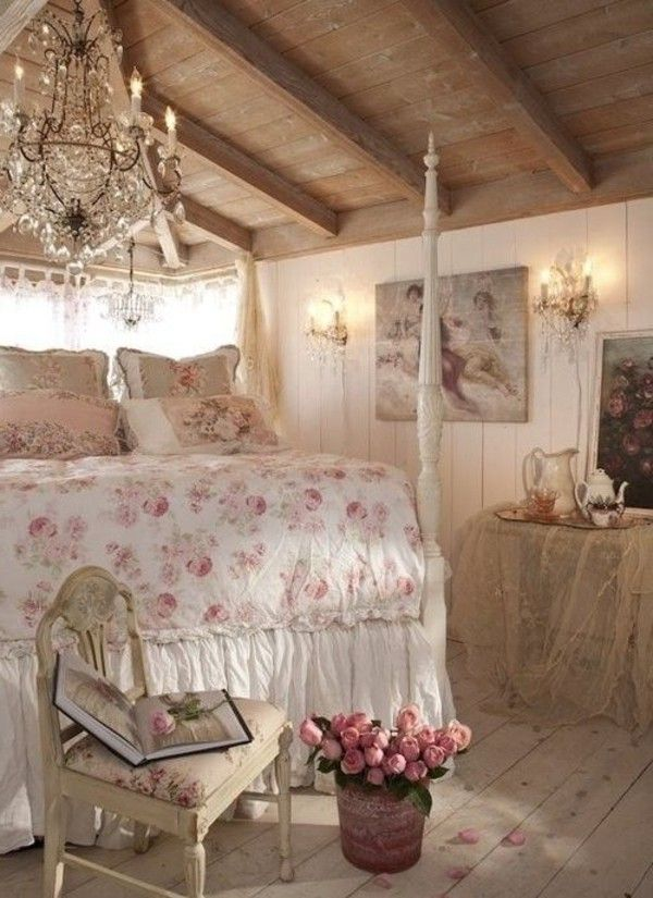 wonderful romantic shabby chic bedroom | Shabby chic bedroom floral elements chandelier rose ...