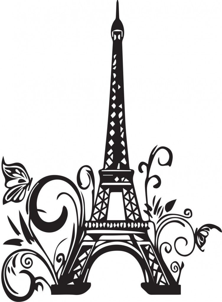 paris eiffel tower silhouette wall art wall decals home interior pic to see pinterest. Black Bedroom Furniture Sets. Home Design Ideas