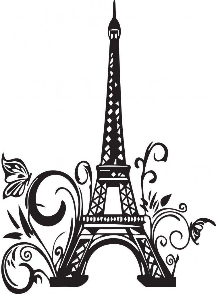 Эйфелева башня черно белый рисунок 5