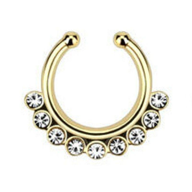 Aro nariz 925 Sterling plata 3 circonita cristales elección de color piercing