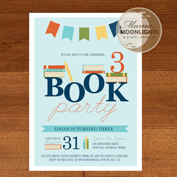 Book Birthday Party Invitation Digital Printable by MamaMoonlights – Book Party Invitation