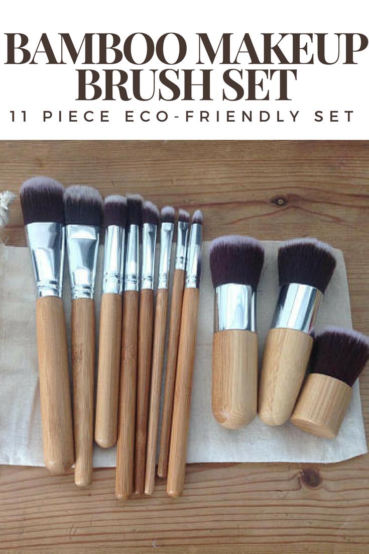 Bamboo Makeup Brush Set, 11 Pieces Kit, Reusable Linen bag