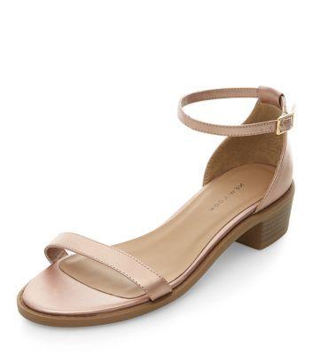 0b9f53a78f8 Bronze Ankle Strap Low Block Heel Sandals